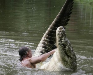 Chito prefers a playful wrestle in the water with his best pal Pocho - a deadly 17ft crocodile