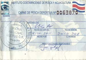 Costa Rica Fishing License