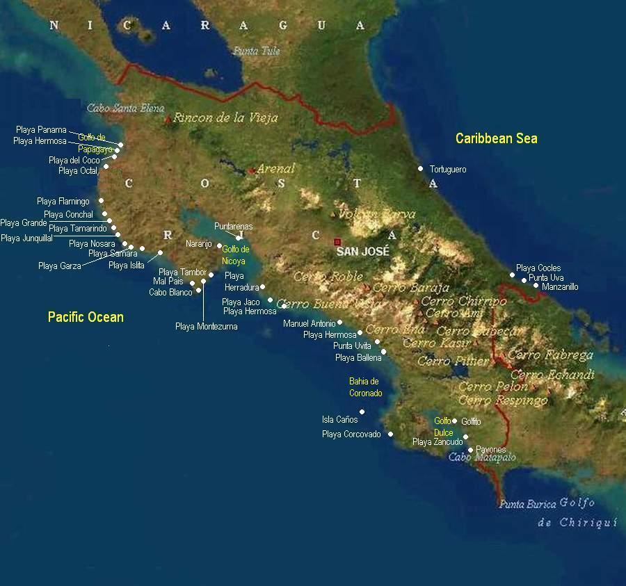 Map Of Costa Rica Beaches